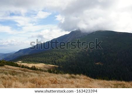 Babia hora 1725 m in clouds, Orava, Slovakia - stock photo