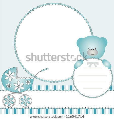 Babies blue background with pram and teddy bear - stock photo