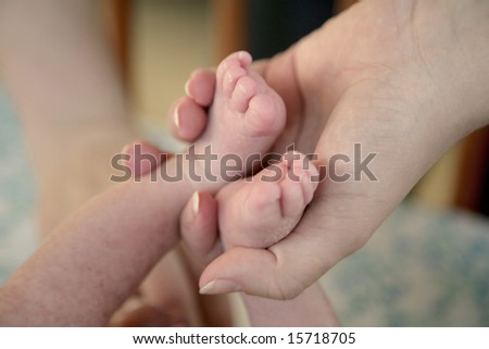 Babies feet in the hands of mother
