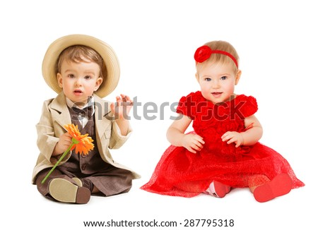 Babies Kids Well Dressed, Boy Suit Hat Girl Dress. Children Fashion Clothing, One Year Child isolated over White - stock photo