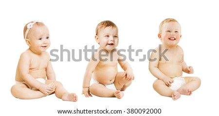 Babies Sitting over White, Toddlers Kids Sit in Diaper, Active Boy and Girl One Year Old - stock photo