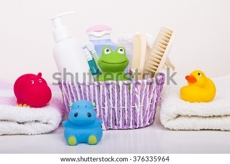 Baby accessories for bathing - stock photo