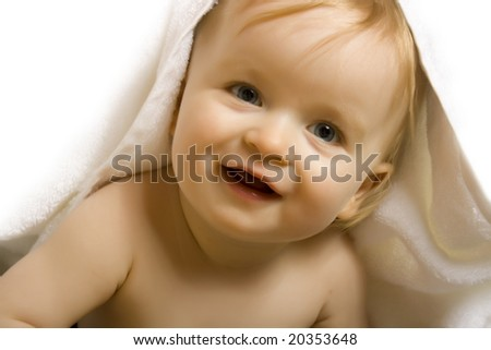 Baby after bath. Cheerful child - stock photo