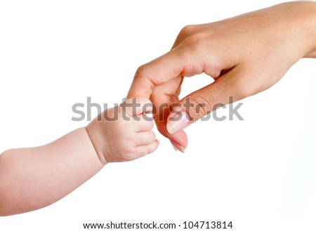 baby and mothers hands isolated on white - stock photo