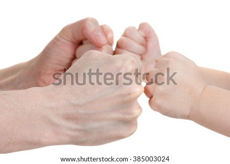 Baby and mothers hands playing isolated on white background