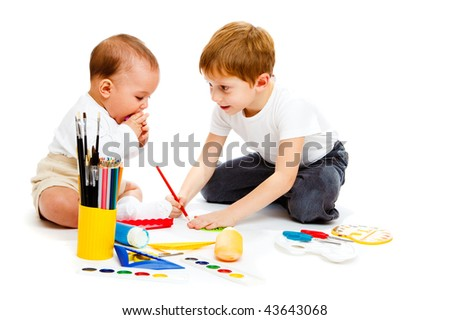 Baby and preschool boys drawing, isolated