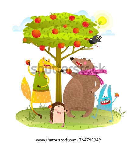 Baby Animals Friends And Apple Tree Rabbit Fox Bear Hedgehog Happy Eating Apples