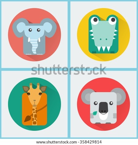 Baby Animals Round Icons Set. Elephant, Crocodile, Giraffe and Koala Characters. Colorful raster illustrations. - stock photo