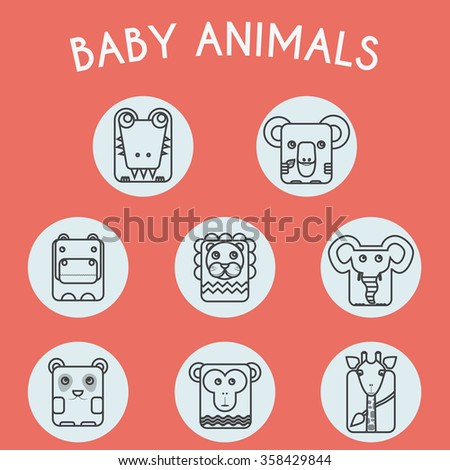 Baby Animals Round Icons Set. Elephant, Crocodile, Giraffe, Koala, Hippo, Lion, Panda and Chimp Characters. Colorful Line Art raster illustration. - stock photo