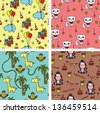 Baby animals seamless background patterns - stock photo