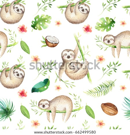Baby Animals Sloth Nursery Isolated Seamless Pattern Watercolor Boho Tropical Drawing Child
