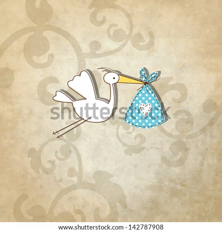 Baby arrival card - cute hand drawn illustration - stock photo