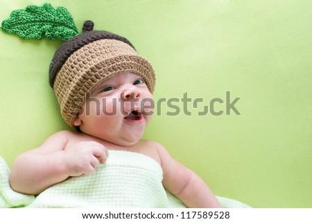 baby baby weared in acorn hats - stock photo