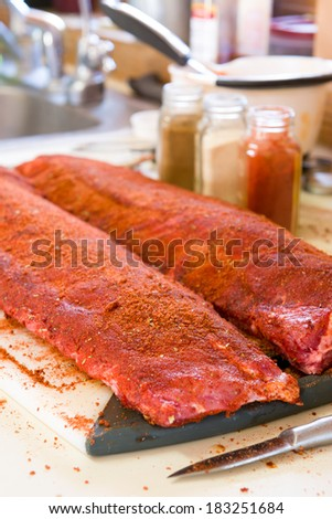 Baby Back Ribs with Seasoning Rub, Ready for the Grill - stock photo