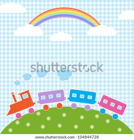 Baby background with train and rainbow. Raster version