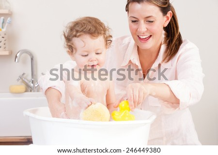 Baby Bath Time - stock photo