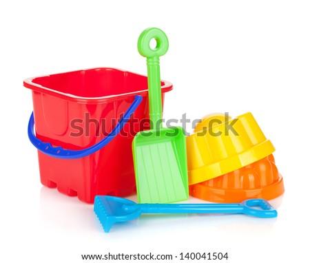Baby beach sand toys. Isolated on white background - stock photo