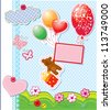 baby birthday card with teddy bear and gift box flying with balloons. Raster version - stock photo