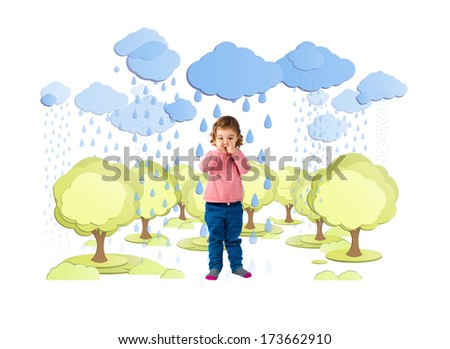Baby blonde girl crying under the rain - stock photo