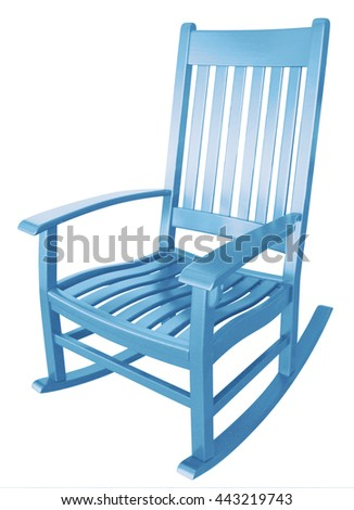 baby blue rocking chair facing left isolated painted wood country relaxing beach furniture traditional contemporary wooden friendly welcoming hospitality chairs living comfortable in a nursery