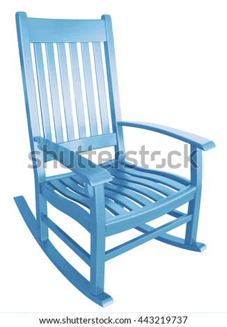 baby blue rocking chair facing right isolated painted wood country relaxing beach furniture traditional contemporary wooden friendly welcoming hospitality chairs living comfortable