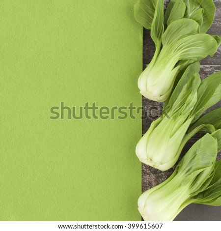 Baby Bok choy with negative space as background