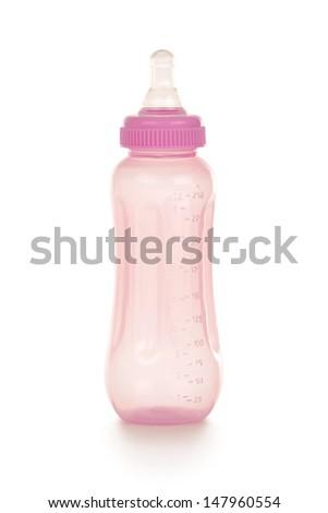 Baby bottle on white background - stock photo