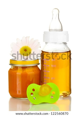 Baby bottle with fresh juice and puree isolated on white - stock photo