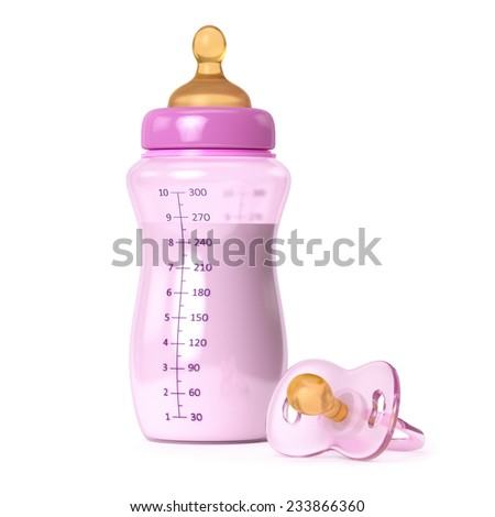 baby bottle with milk and pacifier isolated - stock photo
