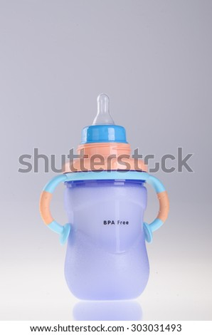 Baby bottle with milk on the background