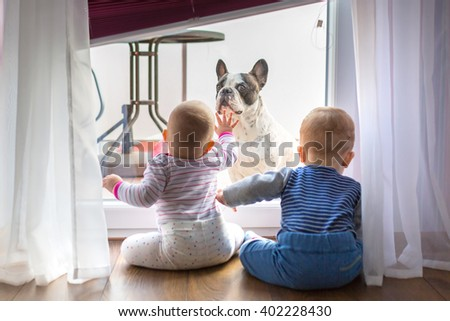 Baby boy and girl twins looking through the balcony window - stock photo
