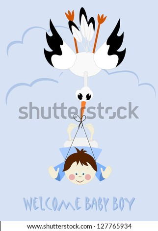 Baby Boy and stork - welcome baby boy - stock photo