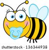 Baby Boy Bee Cartoon Mascot Character. Raster Illustration.Vector Version Also Available In Portfolio. - stock photo