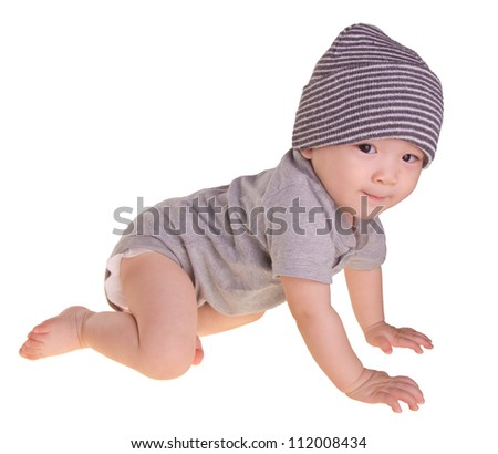 baby boy, bright picture of crawling asian chinese baby boy - stock photo