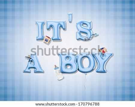 Baby boy celebration - stock photo