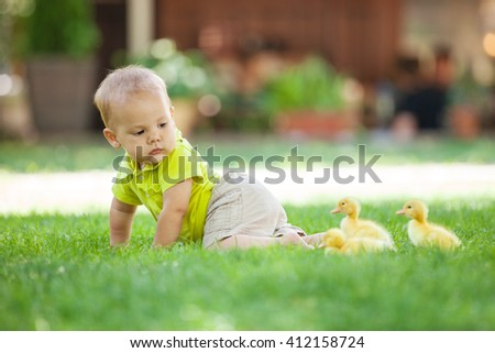 Baby boy crawling on green grass and looking back at spring ducklings - stock photo
