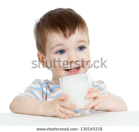 baby boy drinking yogurt or kefir isolated on white background