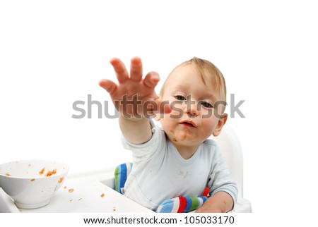 Baby Boy Eating. Give me it. - stock photo