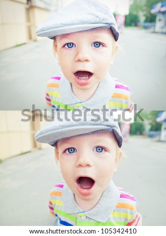 Baby boy  face collage diptych with open mouth and hat - stock photo