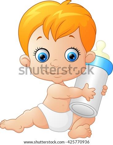 baby boy holding milk bottle stock illustration 425770936 shutterstock