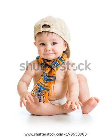 baby boy in a cap - stock photo