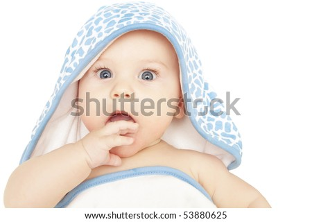 Baby boy in bath hoodie towel on white background: surprised, shocked or curious
