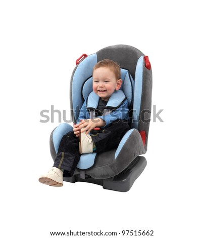 Baby boy in car seat. Isolated with clipping path. - stock photo