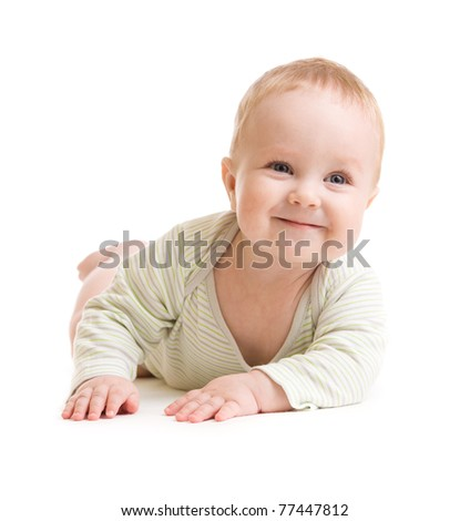 Baby boy isolated lying  smilingly