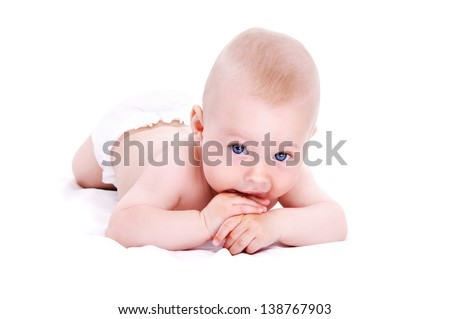 Baby boy  lying on hands on  white background