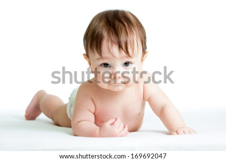 baby boy lying on tummy isolated on white background