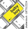 baby boy message on keyboard enter key - stock photo