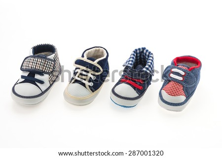 Baby boy shoes isolated on white background