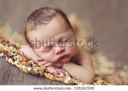 Baby boy sleeping - stock photo