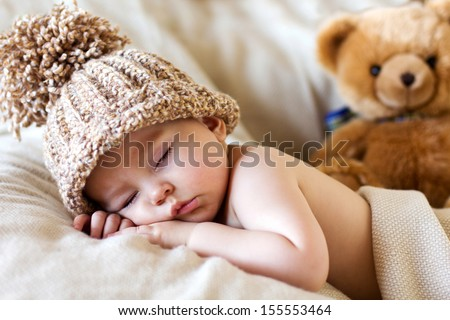 Baby boy, sleeping - stock photo